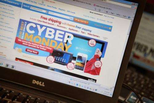 A retailer advertises Cyber Monday deals on their websites in Chicago, Illinois