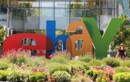 A sign is posted in front of eBay headquarters in 2011