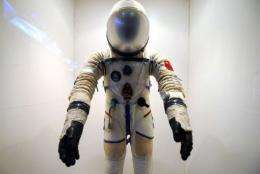 A spacesuit used by Chinese astronauts on display at the Shanghai Science and Technology Museum