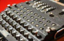 A World War II Enigma decoding machine pictured at Bletchley Park, central England, in 2004