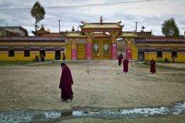 Buddhist monks outside a monastary in the town of Aba in China's Sichuan province