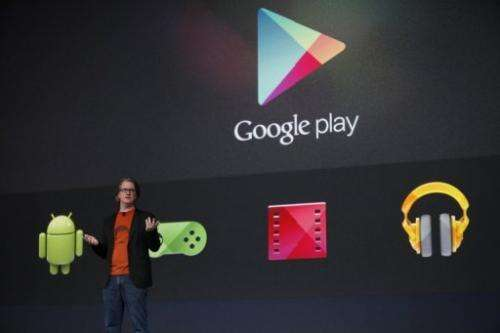 Chris Yerga, engineering director at Google, introduces some features of Google Play in San Francisco on June 27, 2012