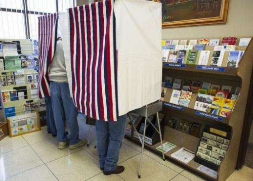 Citizens of New Jersey's Ocean County vote at the Ocean County Administration building