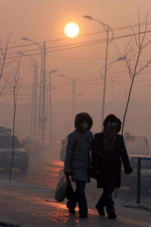During the winter, dense, grey clouds of smog often linger for days over Ulan Bator, which lies in a narrow valley