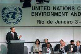 Former US president George Bush addresses the 15th plenary session of the UN-sponsored Earth Summit in 1992