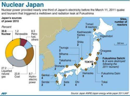 Graphic on nuclear power in Japan, accounting for nearly a third of electricity generated before the March 2011