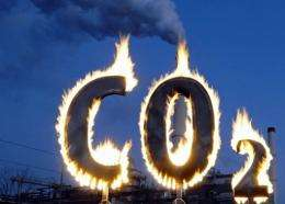 Greenpeace activists burn a symbol of carbon dioxide in 2008