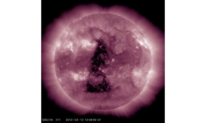 Huge coronal hole is sending solar wind our way