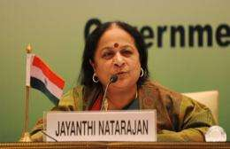 Indian Minister of Environment and Forests Jayanthi Natarajan