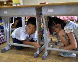 Japan suffers frequent seismic activity and schoolchildren are regularly taught how to respond to earthquakes