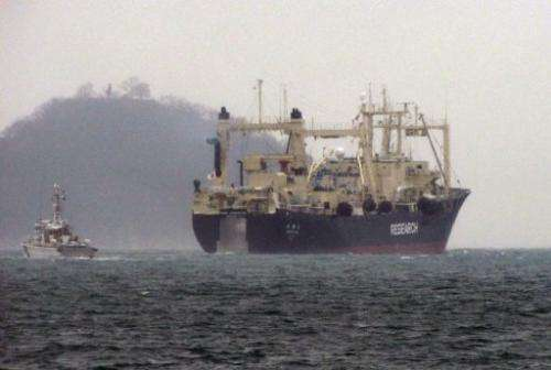 Japan's whaling research ship 'Nisshin Maru' leaves from Innoshima island port, on December 28, 2012
