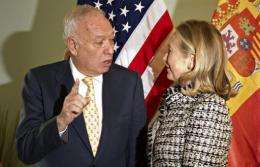 Jose Manuel Garcia-Margallo (L) spoke with Hillary Clinton about the remediation this week