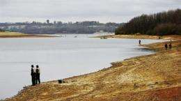 Low water levels at Bewl Water reservoir near Tunbridge Wells during an earlier water shortage in 2006
