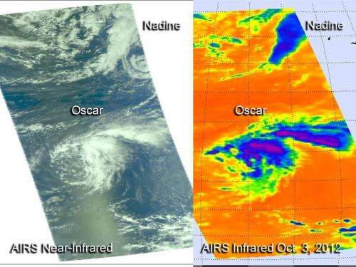NASA gets 2 infrared views of tropical storms Nadine, Oscar