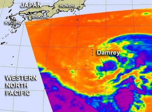 NASA sees compact Tropical Storm Damrey approaching southern Japan