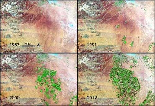 Nasa sees fields of green spring up in Saudi Arabia