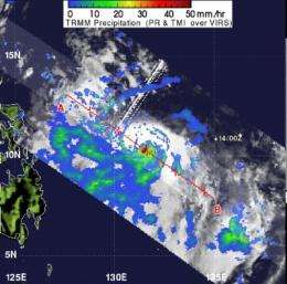 NASA sees heavy rainfall around compact Typhoon Guchol's center