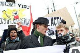 People protest against the ACTA in Riga, Latvia today