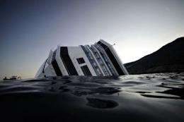 Picture taken on January 14, 2012 shows  the Costa Concordia after the cruise ship ran aground and keeled over