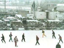 Sarajevo soccer players train in the snow in January
