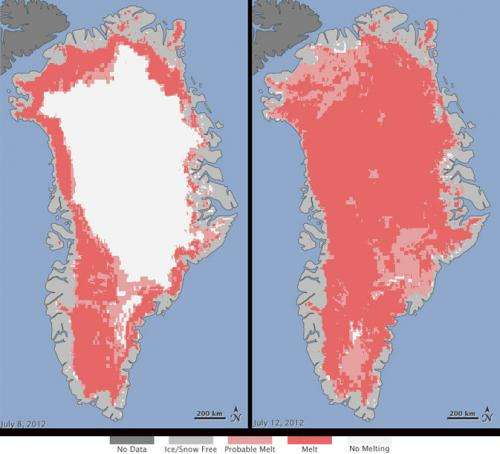 Satellites see unprecedented Greenland ice sheet surface melt