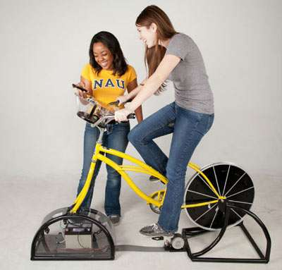 Students put mettle to the pedal to build bike-powered charging station
