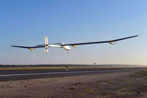 Swiss-made Solar-powered aircraft the Solar Impulse piloted by Bertrand Piccard of Switzerland takes-off from Rabat
