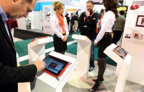 Tablet computers at a Las Vegas electronics show