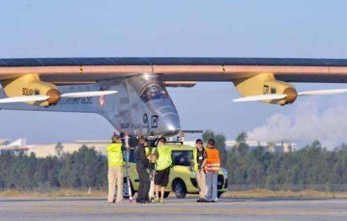 The aircraft, which flies without a drop of fuel, took off at 7:05 am (0605 GMT) Thursday