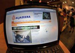 The Al-Jazeera website on a laptop at a cafe in Silver Spring, Maryland