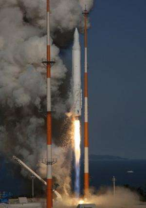 The Korea Space Launch Vehicle-1 has a 1st stage manufactured by Russia and a solid-fuel 2nd stage built by South Korea