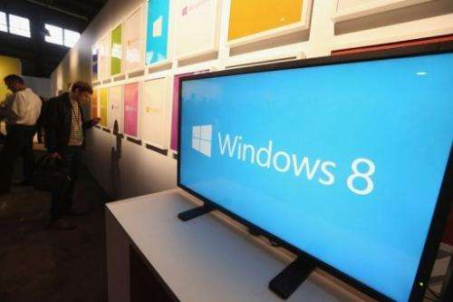 The logo for the new Windows 8 operating system on display