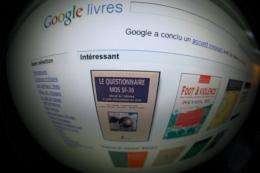 The screen of a computer shows a Google Book search on the home page of Internet giant Google's website