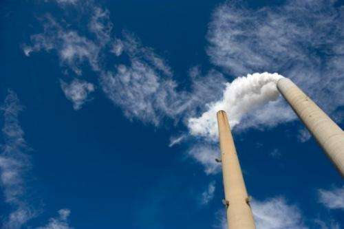 The smoke stacks at American Electric Power's (AEP) Mountaineer coal power plant in New Haven, West Virginia