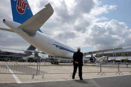 A China Southern Airbus plane is seen during the Paris International Air Show at Le Bourget airport, on June 23, 2011