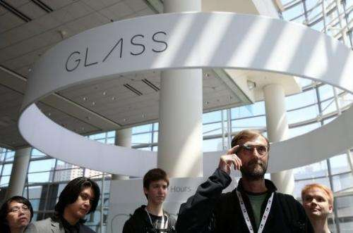 An attendee tries Google Glass during the Google I/O developer conference on May 17, 2013 in San Francisco