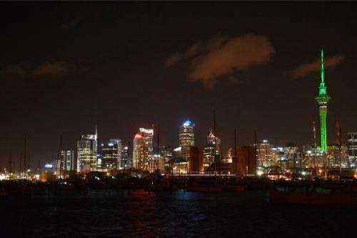 A PEAD PR handout photo taken on November 21, 2013 shows the Skytower in Auckland glowing green to promote Xbox One