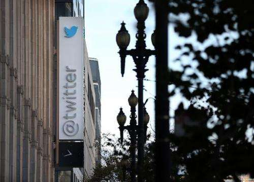A sign is posted outside of the Twitter headquarters on October 25, 2013 in San Francisco, California