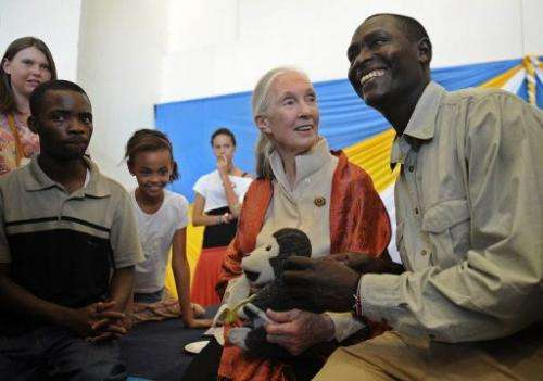 British primatologist Jane Goodall after a presentation at the National Museum on January 26, 2013 in Nairobi
