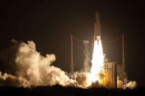 European Space Agency's Ariane 5 rocket blasts off from Kourou in French Guiana on June 5, 2013