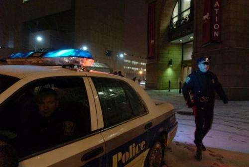 File picture for illustration only shows Boston Police officers on patrol