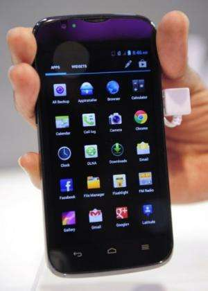 Huawei's 'Ascend LTE with 4G' smartphone is seen at the 2013 Mobile World Congress in Barcelona, on February 26, 2013