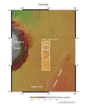 Landslides and lava flows at Olympus Mons on Mars