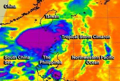 NASA's 2 views of Tropical Storm Cimaron making landfall in China