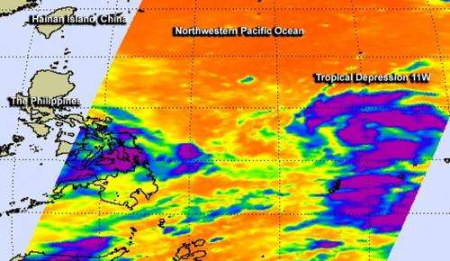 NASA sees some strength in developing Tropical Depression 11W headed for Luzon