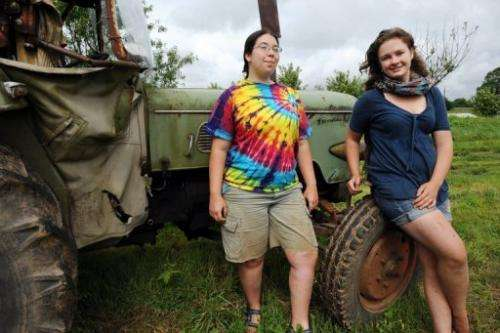 Nicole Long (L) and Sarah MacClellan, wwoofing volunteers from the US, pictured at a farm in Gourin on June 21, 2013