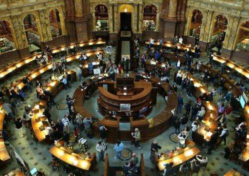 Photo taken on October 8, 2012 shows the main reading room at the Library of Congress in Washington, DC