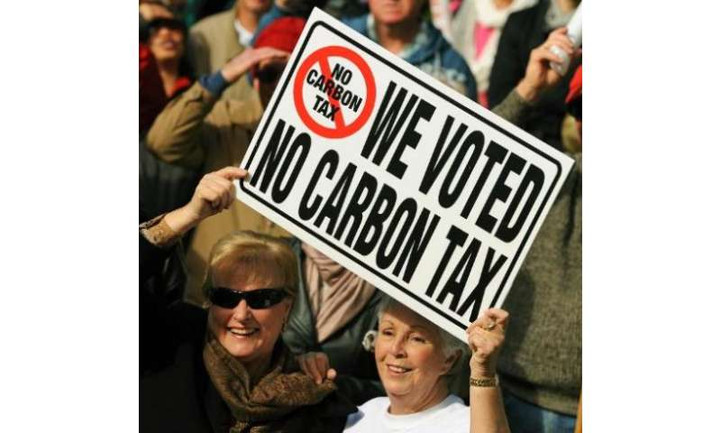Protesters hold a placard during a rally against a carbon tax in Sydney on July 1, 2012