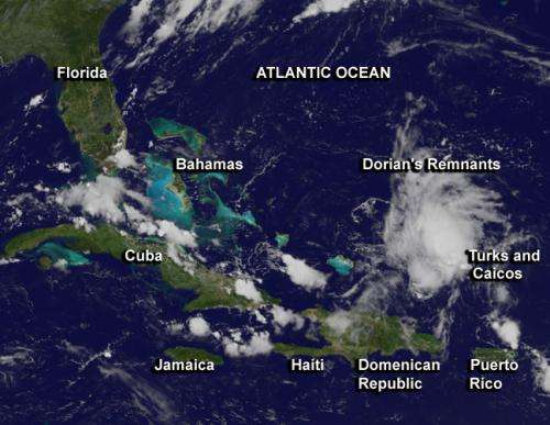 Satellite shows ex-Tropical Storm Dorian's remnants elongated