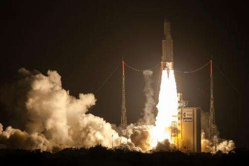 The Ariane 5 blasts off from the French Guyana European Spaceport of Kourou on June 5, 2013